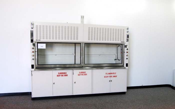 10′ HAMILTON FUME HOOD W/ EPOXY TOPS AND BASE CABINETS (H112)