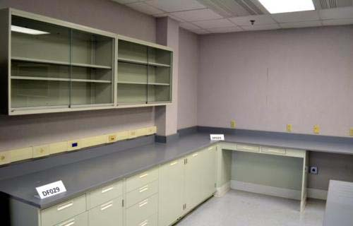24' Fisher Hamilton Used Laboratory Furniture Cabinets w/ 12' Of Upper Cabinets