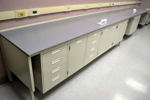 25' Fisher Hamilton Laboratory Furniture Cabinets w/ Epoxy Counter Tops