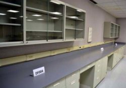 27' Fisher Hamilton Laboratory Furniture Cabinets w/ 18' Upper Cabinets Epoxy Resin Counter Tops