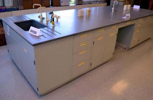 33' Fisher Hamilton Laboratory Cabinet Island w/ Epoxy Resin Counter Tops -  NLS