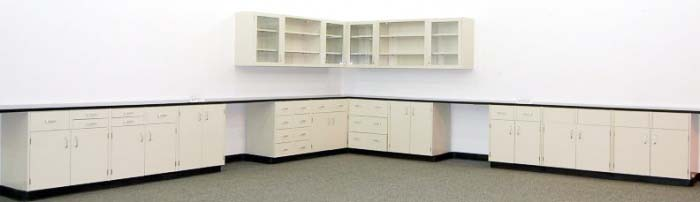 34' Mott Laboratory Cabinets and 14' Upper Cabinets