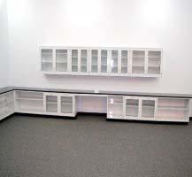 36′ FISHER LAB GLASS CABINETS WITH 16'WALL L015