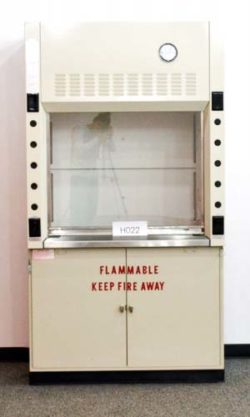 4' New Mott Fume Hood w/ Flammable Storage Cabinet & Epoxy Resin Countertops