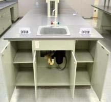 49' Fisher Hamilton Laboratory Island w/ 48' Cabinets