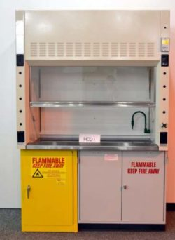 5' New Mott Fume Hood w/ Flammable Storage Cabinets & Epoxy Countertops
