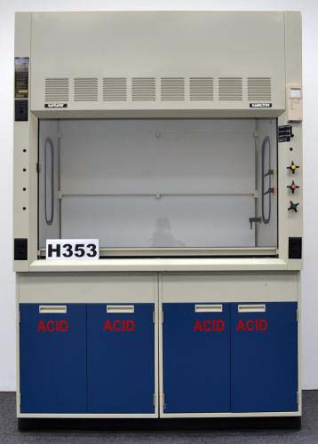 5′ FISHER HAMILTON SAFEAIRE LABORATORY FUME HOOD WITH ACID LOWER CABINETS H353