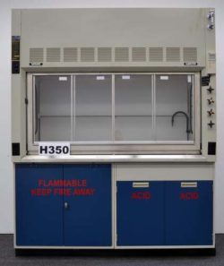 6' Fisher Hamilton Safeaire Laboratory Fume Hood w/ Flammable Acid Cabinets