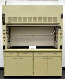6' Hamilton Safeaire Fume Hood w/ Epoxy Countertops & Base Cabinets