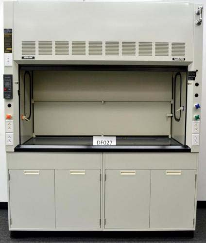 6′ FISHER HAMILTON LABORATORY FUME HOOD WITH CHEMICAL BASE CABS AND EPOXY TOPS DF027