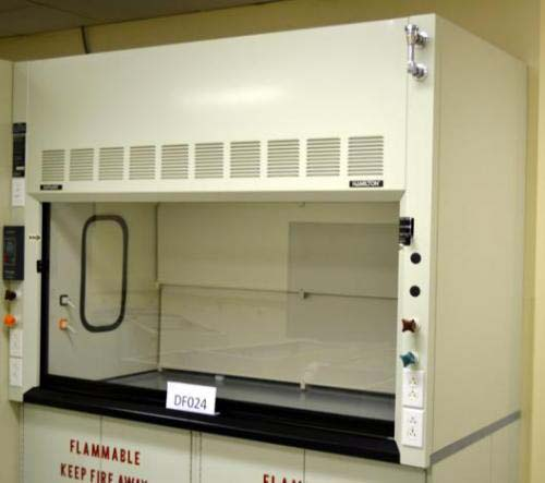 6′ FISHER HAMILTON LABORATORY FUME HOOD WITH FLAMMABLE BASE CABS AND EPOXY TOPS DF024