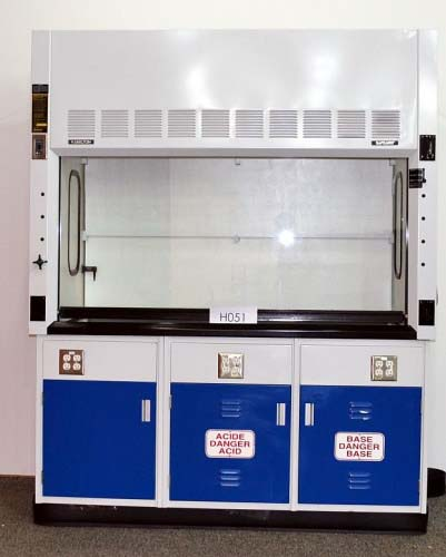 6′ FISHER HAMILTON SAFEAIRE FUME HOOD with EPOXY COUNTER TOP ACID BASE CABINETS H051