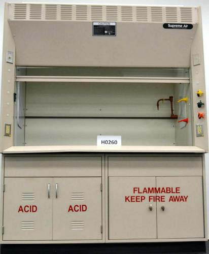 6′ KEWAUNEE SUPREME AIR LABORATORY FUME HOOD WITH EPOXY TOPS AND BASE CABINETS H260