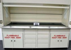 8' Kewaunee Supreme Air Flow Fume Hood w/ Chemical Storage Base Cabinets