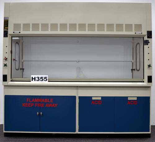 8′ FISHER HAMILTON SAFEAIRE LABORATORY FUME HOOD with ACID FLAMMABLE CABINETS H355