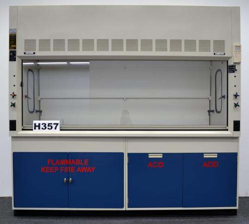 8′ FISHER HAMILTON SAFEAIRE LABORATORY FUME HOOD with CABINETS H357