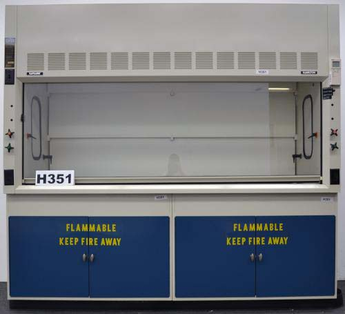 8′ FISHER HAMILTON SAFEAIRE LABORATORY FUME HOOD with FLAMMABLE CABINETS H351