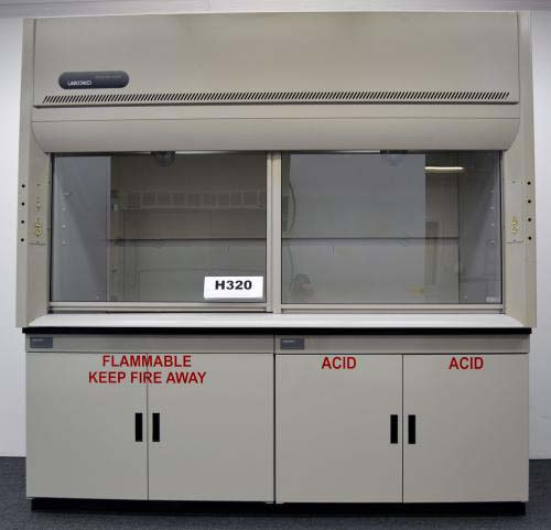 8′ LABCONCO FUME HOOD W FLAMMABLE ACID BASE CABINETS
