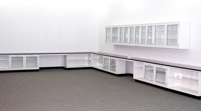 36\' Fisher Lab Glass Cabinets Casework W/ Wall Units - NLS
