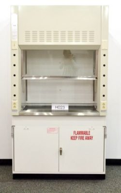 4' Mott Fume Hood w/ Flammable Base Cabinet & Epoxy Top