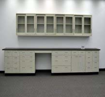 19' Base & 16' Wall Laboratory Cabinets w/ Base Counter Tops (CV OPEN 4)