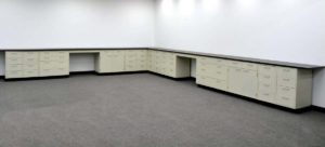 38' Base & 34' Wall Laboratory Cabinets w Base Counter Tops (CV OPEN 2)