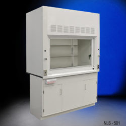 White fume hood with two general storage cabinets.