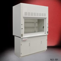 Angled view of a 5 Foot Fisher American Fume Hood with one general storage cabinet