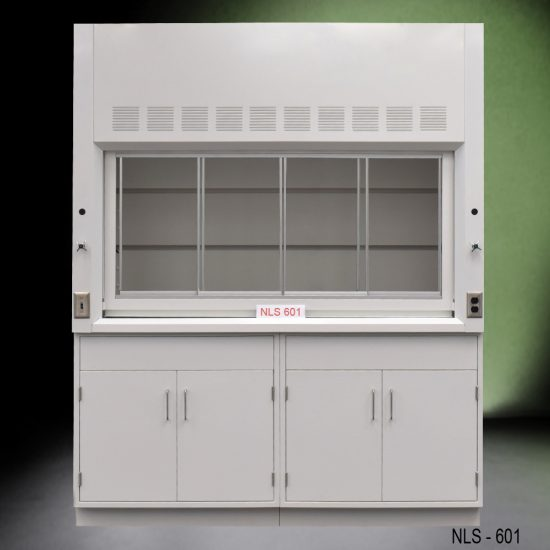 Front view of a 6 foot Fisher American fume hood with two general storage cabinets, one light on/off switch, one AC power plug