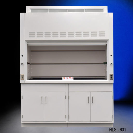 Six-foot fume hood with four general storage cabinets.