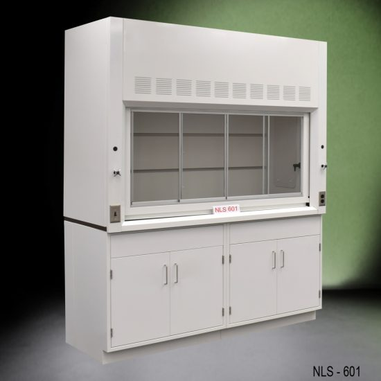 Angled view of a 6 foot Fisher American fume hood with two general storage cabinets, one light on/off switch, one AC power plug