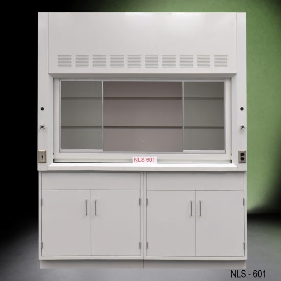 Front view of a 6 foot Fisher American fume hood with 2 general storage cabinets, 1 light on/off switch, 1 AC power plug