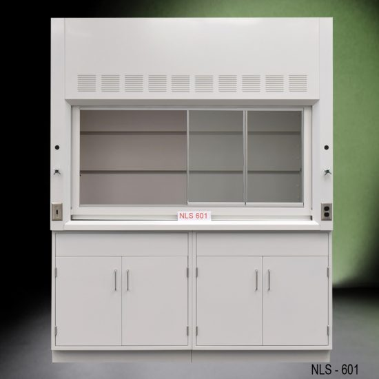 Front view of a 6 foot Fisher American fume hood with two general storage cabinets, one cold water valve, one gas valve
