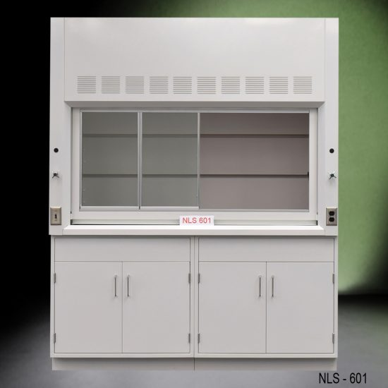 Front view of a 6 foot Fisher American fume hood with 2 general storage cabinets, 1 cold water valve, 1 gas valve