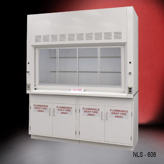 Front view of a 6 foot Fisher American fume hood with two flammable storage cabinets, one light on/off switch, one AC power plug