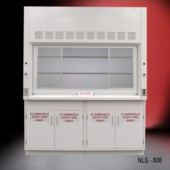 Front view of a 6 foot Fisher American fume hood with 2 flammable storage cabinets, 1 light on/off switch, 1 AC power plug
