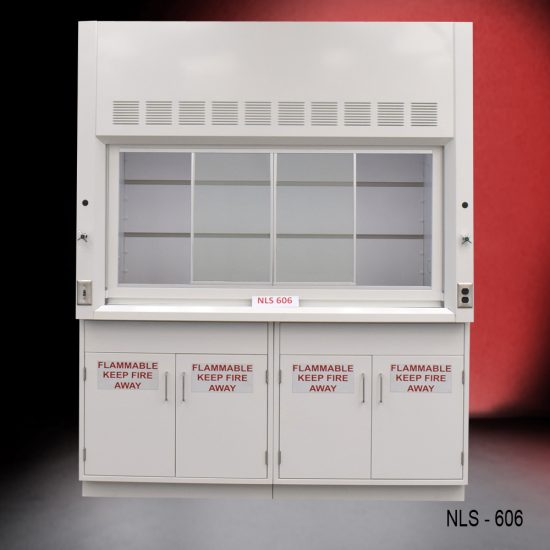Front view of a 6 foot Fisher American fume hood with two flammable storage cabinets, one cold water valve, one gas valve
