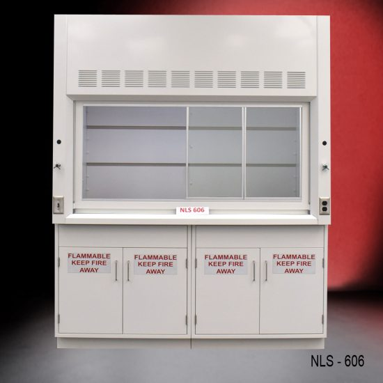 Front view of a 6 foot Fisher American fume hood with 2 flammable storage cabinets, 1 cold water valve, 1 gas valve