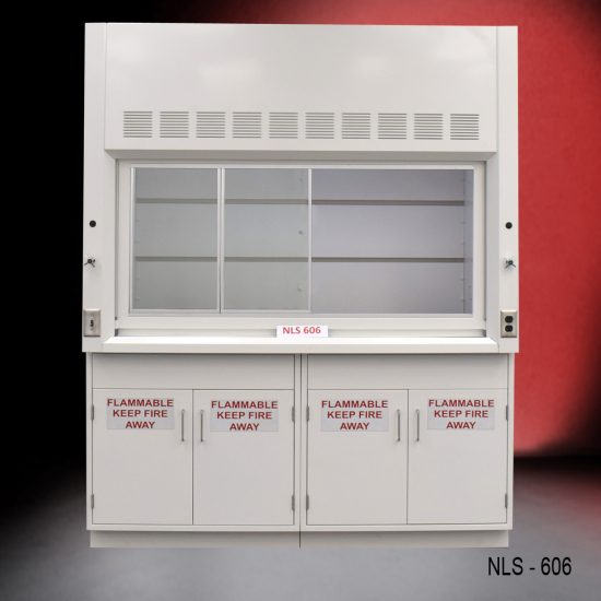 Front view of a 6 foot Fisher American fume hood with two flammable storage cabinets, one vertical sliding sash door