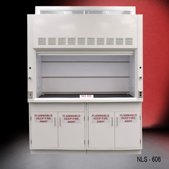 Front view of a 6 foot Fisher American fume hood with 1 vertical sliding sash door with 4 horizontal sliding glass windows