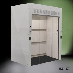 Front view of a 6 foot Fisher American Walk-In fume hood with 1 gas valve, 1 cold water valve, 4 sliding doors