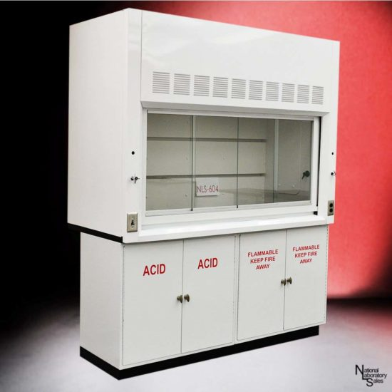6' Fisher American Fume Hood w/ Flammable & Acid Storage Cabinets (NLS-604)