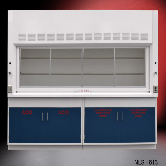 8' Fisher American Fume Hood w/ Flammable & Acid Cabinets (NLS-813)