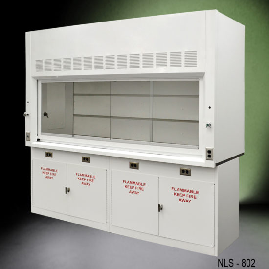 8' Fisher American Fume Hood w/ Flammable Storage Cabinets (NLS-802)