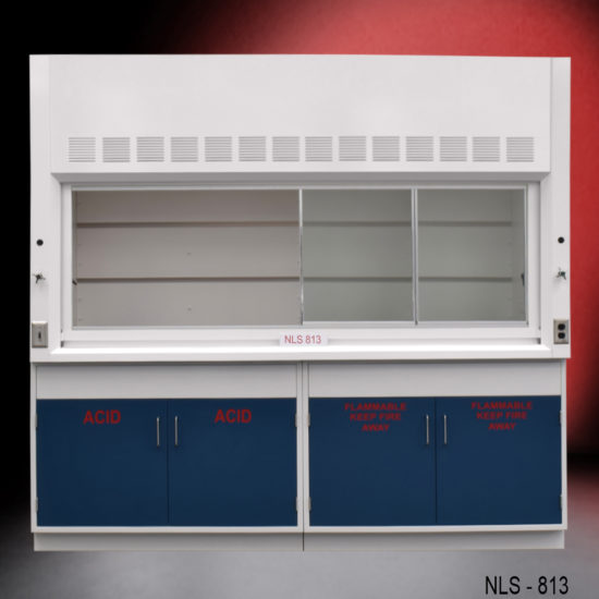 White fume hood with two blue flammable storage cabinets and two blue acid storage cabinets.