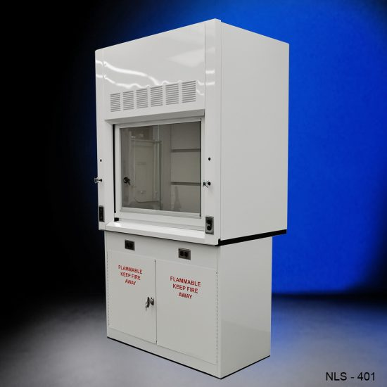 White fume hood with two white flammable storage cabinets.