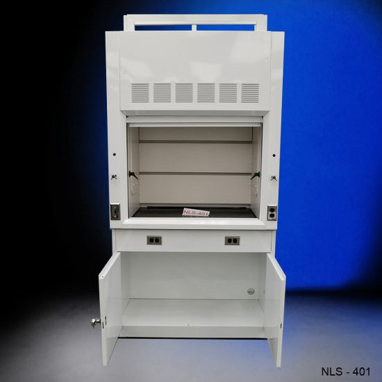 White fume hood with blue background.