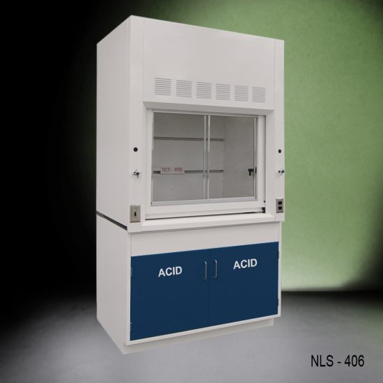 Angled view of Fisher American 4 Foot Fume Hood with blue acid cabinets