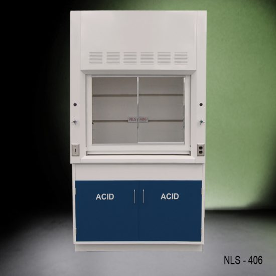 Front view of Fisher American 4 Foot Fume Hood with blue acid cabinets