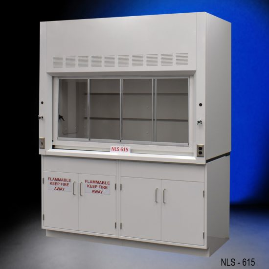 Angled view of 6' Fisher American Fume Hood with one flammable cabinet and one general storage cabinet